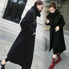 Fashion Women Wool Coat Slim Wool & Blend Solid Color Long Coat Turn-down Collar Warm Tops Mujer Streetwear Outwear