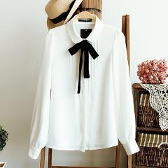 Women Elegant Bow Tie White Blouses Chiffon Casual Shirt Office Ladies Tops 2018 Fashion School Blusas Female Clothing