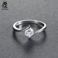 ORSA JEWELS 2019 Luxury Austrian Crystal Solitaire Ring Silver Color Lead & Nickel Free Ring for Women OR06