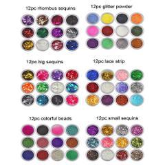 72 Colors Spangle Glitter Nail Art Paillette Acrylic UV Powder Polish Tips Set Metal Sheet DIY Time Gear 40# dropship