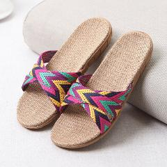 Summer Shoes Toe Sandals Open Beach Plain Flats Slippers Anti-slip Linen Home