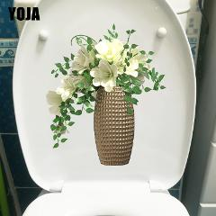 YOJA 19.1X22.6CM Creative Vase Flower Kitchen Living Room Wall Decor Decal Fresh Fashion Toilet Sticker T1-1943