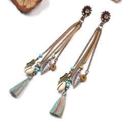 Women Fashion Bohemian Shell pendant Earrings Vintage Long Tassel Fringe Boho Dangle Earrings Morocco Turkish Earings Jewelry