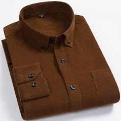 Plus Size XXXL 4XL Autumn/winter Warm 100% Cotton High Quality Corduroy Long-sleeved Button-down Collar Men Smart Casual Shirts