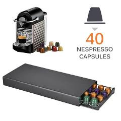 Coffee Pod Holder Storage Drawer Coffee Capsules Organizer 40pcs For Nespresso Capsules For Home, Office, Kitchen, Café, Salon
