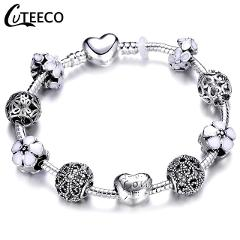 CUTEECO 925 Fashion Silver Charms Bracelet Bangle For Women Crystal Flower Beads Fit Brand Bracelets Jewelry