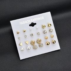 12 pair/set Round Crystal Heart Stud Earrings Fashion Simulated Pearl Earrings for Women Brincos Bijoux Gift Accessories