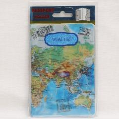 Travel Accessories New Design Colorful World Map Passport Cover ID Credit Card Bag 3D Design PU Leather Passport Holder Bag