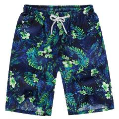 Boys Leaf Print Swim Drawstring Shorts Quick Dry Beach Surfing Running Pocket Casual Loose Men's Swimming Trunks 2020  #T1P