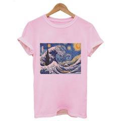 2019  Tumblr Van Gogh Art Print Women Tshirt Summer Short Sleeve O-neck Harajuku Tee Shirt For Femme 4 Colors 5 Size Dorpship