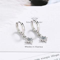 New 925 Sterling Silver Earring For Women Girls Bead Star Tassel Earrings Silver Gold Color Huggie Hoop Earring Oorbellen Gifts
