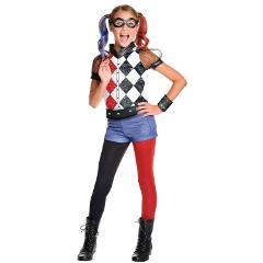 NEW DC Superhero Harley Quinn Girls Deluxe Costume size L 12/14 Licensed 6SZIzm1