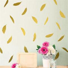 12pcs/lot Cartoon Gold Feather Shape Wall Stickers For Kids Baby Rooms Self-adhesive Feather Wallpaper Vinyl Art DIY Wall Decals