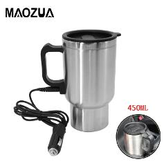 450ml Auto Car Heating Cup Stainless Steel Electric Thermos Water Heated Mug For Car 12V Kettle Travel Mug In the Car