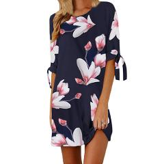 Bohemian Floral Print Mini Dress Summer Beach Sundress Plus Size Straight Casual Half Sleeve O-neck Dresses Lady Bandage Vestido