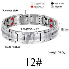 Women Men Health Care Germanium Magnetic Bracelet for Arthritis and Carpal Tunnel 316L Stainless Steel Power Therapy Bangles