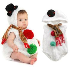 Christmas Newborn Infant Baby Girl Boy Rompers Snowman Cosplay Costume Fur Hooded Zipper Romper Outfit