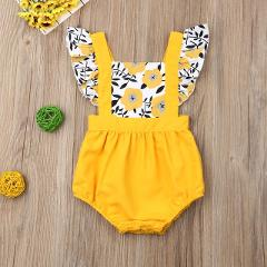 Pudcoco Summer Newborn Baby Girl Clothes Fly Sleeve Sunflower Print Romper Jumpsuit One-Piece Outfit Sunsuit Summer Clothes
