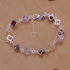 H220 925 delicate silver bracelet, 925 delicate silver fashion jewelry Colored Stone Bracelet /ahraiyya azxajrea