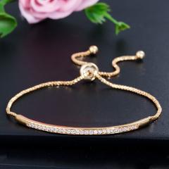Pera Fashion Ladies Adjustable Size Summer Style Jewelry Micro Pave AAA+ Cubic Zirconia Briliant Women Party Charm Bracelet B058