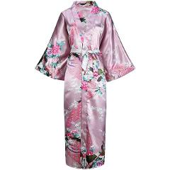 Gray Women Long Printed Robe Floral&PEACOCK Bride Bridesmaid Dressing Gown Rayon Sleepwear Leisure Kimono Bathrobe Wedding Gift