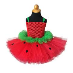 Red Green Strawberry Inspire Girls Tutu Dress Infant Baby 1st Birthday Party Photo Prop Dresses Kids Carnival Perform Costume