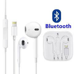 For iPhone 7 8 Plus X XS Bluetooth Wired Headset Earphones w/ Mic Volume Control