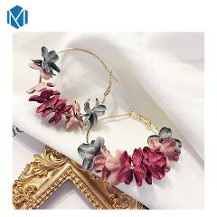 New Fashion Fabric Flower Drop Earrings Bohemian Earrings Colorful Petal Big Circle Alloy Earring Jewelry Boucle D'Oreille