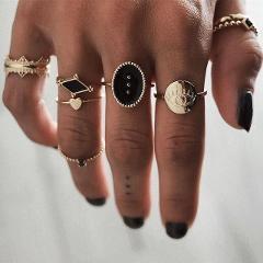 DIEZI 6pcs/set Bohemian Fashion Black Eyes Heart Charm Knuckle Joint Rings Set For Women Boho Vintage Gold Finger Rings Jewelry