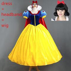 Women Snow White Dress Adult Prom Princess Dress Birthday Party Cinderella Snow White Princess Cosplay Costume Carnival Dress
