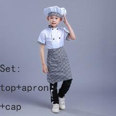 95-160cm Chef Kids Costumes Cooking Clothing Baby Girl Baby Boy Kitchen Uniform Cosplay Costumes Apron Top Cap for Craft Baking