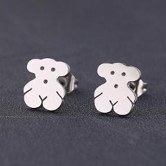 Hfarich Lovely Cartoon Silver Naughty Bear Animal Stud Earrings for Women Children Cute Christmas Earings Jewelry Gifts Oso