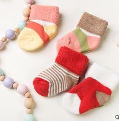 New Autumn Winter Baby Socks 0-3 Year Kids Boys Girls Warm Cotton Newborn Baby Socks 4 Pairs Pack