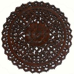 """Large Round Wood Carved Floral Wall Art. Asian Home Decor Wood Wall Panels. 24"""""""