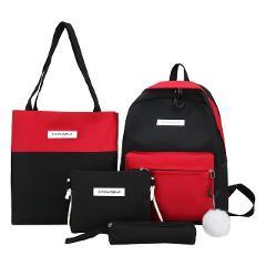 Aelicy 4PCs Canvas Bag Women Outdoor Travel Handbag Shoulder Bag Messenger Card Package Ladies Female School Bags