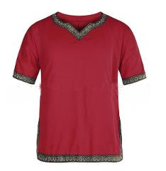 Adult Men Medieval Knight Warrior Costume Green Tunic Clothing Norman Chevalier Braid Viking Pirate Saxon LARP Top Shirt For Men