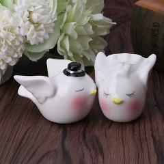 Bride Groom Loving Birds Ceramic Salt Pepper Shaker Pot Set Wedding Home Decor