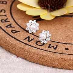 Earrings For Women Pearl Cute Fashion Girls Animal Jewelry Trend Rabbit Flower Heart Silver Fruit Cherry Butterfly