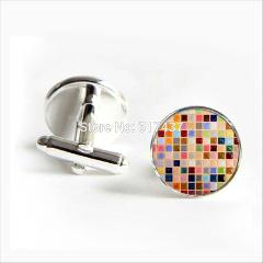 2017 wholesale Mosaic Tile Cufflinks Mosaic Tile Cuff link Jewelry Shirt Cufflinks For Men's Women's