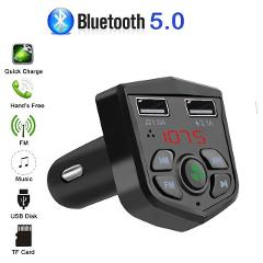 Bluetooth 5.0 Handsfree Car Kit FM Transmitter 3.1A Quick Dual USB Charger LCD Digital Voltmeter TF Card U disk AUX Player