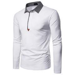 Autumn Men's Men's Lapel Solid Color Long Sleeve POLO Top Button Slim Fit Turn-Down Collar Long Sleeve Top Blouse Shirt#LR1