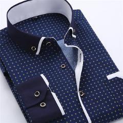 Big Size 4XL Men Dress Shirt 2016 New Arrival Long Sleeve Slim Fit Button Down Collar High Quality Printed Business Shirts M014