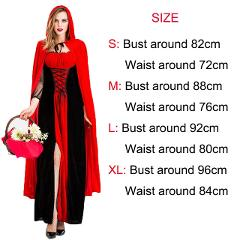 Little Red Riding Hood Maxi Dress Adult cosplay Halloween retro court party dress Nightclub Queen Costume Plus Size Dress+Cloak
