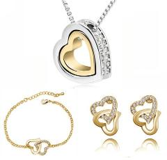 Double Heart pendant necklace earrings bracelets fashion Jewelry Sets Free Shipping charms top quality AAAA+ rhinestones wedding