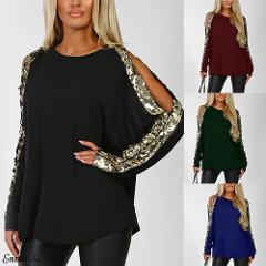 2019 New Women Sexy O Neck Sequins Long Hollow Sleeve Blouse Shirt Spring Winter Long Sleeve Black Blouses Tops Plus Size 2XL