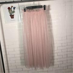 2020 Summer New Net Yarn Skirt Transparent Single-layer Mesh Skirt Perspective Half Skirt Women Tulle Skirts Faldas Largas Mujer