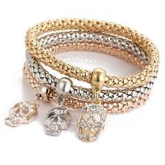 3PC Fashion Bracelets For Women Buttery Rhinestones Pendant Gold-color Charm Bracelets&Bangles Gift Jewelry Bracelet Accessories