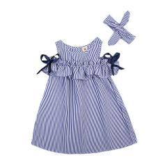 Girls Strapless Dress 2018 Summer New Children's Clothing Korean Children's Striped Dresses In The Big Child Princess Dress