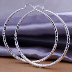 "Women's Classic 925 Sterling Silver 1.75"" Medium-Size Round Hoop Earrings H904"