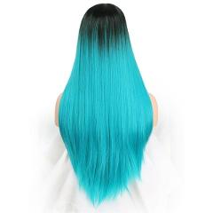 Doris beauty Ombre Long Straight Black to Teal Green Wig for Women with Middle Part Synthetic Cosplay Heat Resistant Fiber